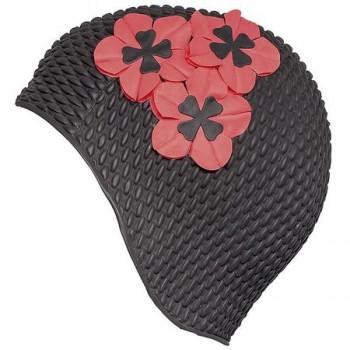 Шапочка для плавания 3119-06 черная с красными цветами