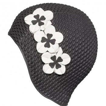 Шапочка для плавания 3119-20 черная с белыми цветами