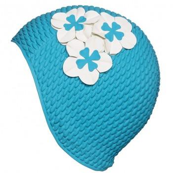 Шапочка для плавания 3119-59голубая с белыми цветами
