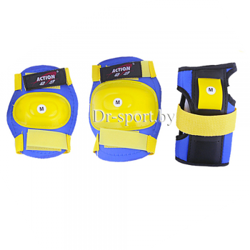 Комплект защиты Action PW-308 blue/yellow M