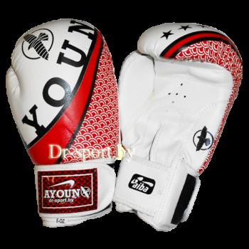 Перчатки боксерские Ayoun DX 328-10 унц. белые