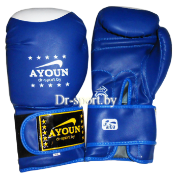 Перчатки для кик боксинга  Ayoun 848 - 12 унц.(синий)