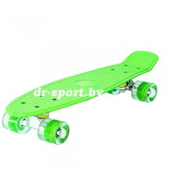 Скейтборд  со светящимися колесами AR-39 зеленый