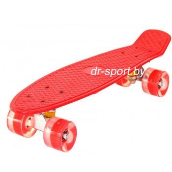 Скейтборд  со светящимися колесами AR-39 красный