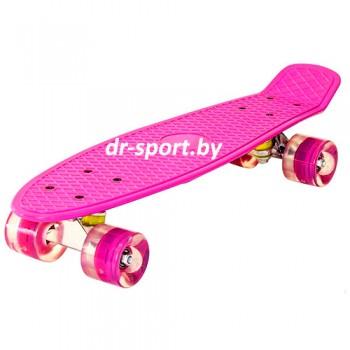 Скейтборд  со светящимися колесами AR-39 розовый