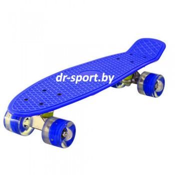 Скейтборд  со светящимися колесами AR-39 синий
