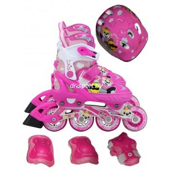 Коньки роликовые Action PW-153 skate set pink M(37-40) в комплекте