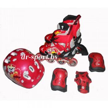 Коньки роликовые Action PW-153 skate set red M(37-40) в комплекте